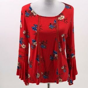 Liberty Love floral bell sleeve key hole back top